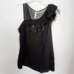 Robby and Nikki Silk Top FeatherTrim One Shoulder